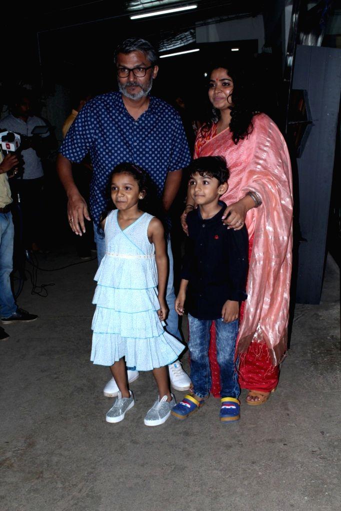"Director Ashwiny Iyer Tiwari along with her husband Nitesh Tiwari and children during the special screening of upcoming film ""Bareilly Ki Barfi"" in Mumbai on Aug 16, 2017."