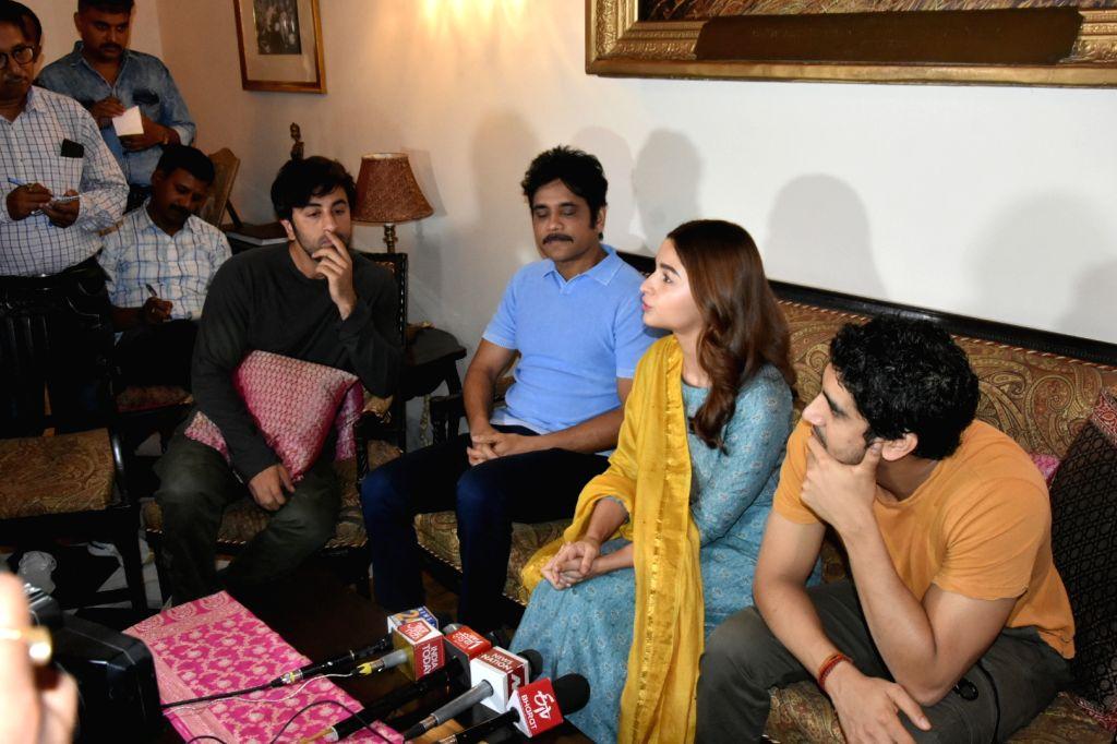"Director Ayan Mukerji with actors Ranbir Kapoor, Nagarjuna Akkineni and Alia Bhatt at a press conference regrading their upcoming film ""Brahmastra"" in Varanasi on June 12, 2019. - Ranbir Kapoor, Nagarjuna Akkineni and Alia Bhatt"