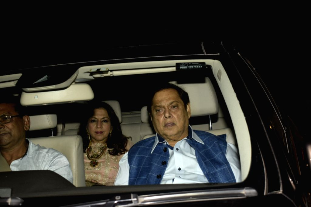 Director David Dhawan along with his wife Karuna Dhawan attend the diwali party hosted by designer duo, Abu Jani- Sandeep Khosla in Mumbai on Nov 2, 2018.