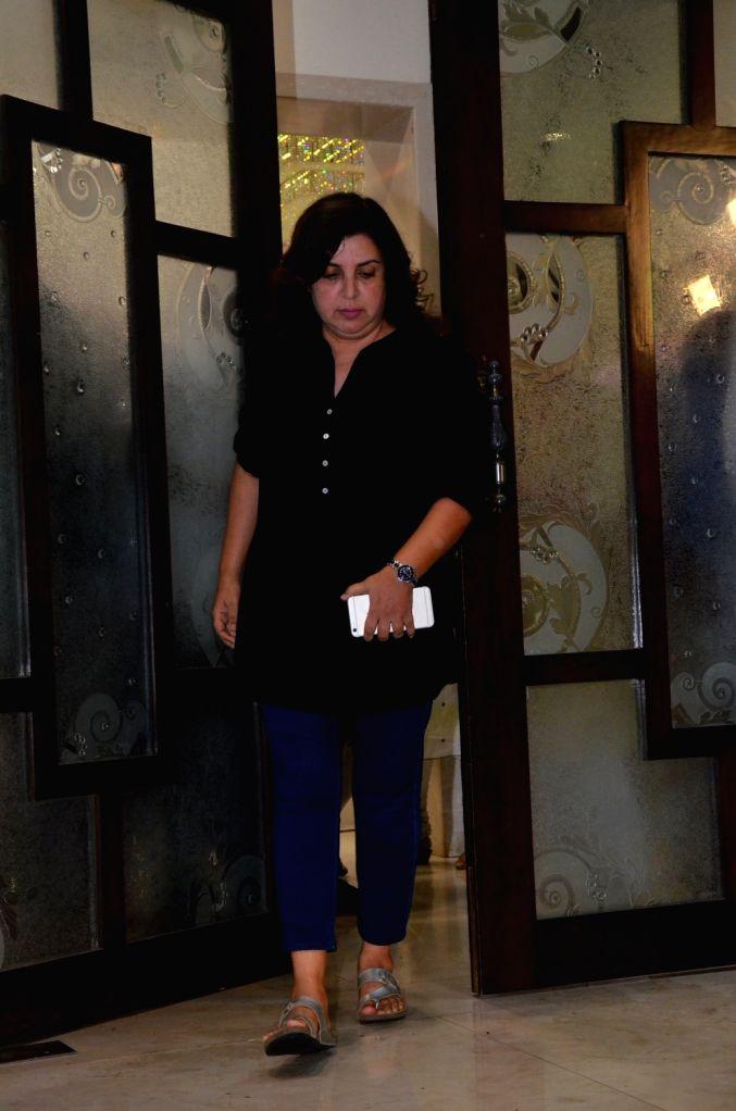 Director Farah Khan attend late Director Kundan Shah's prayer meet in Mumbai on Oct 10, 2017. - Farah Khan and Kundan Shah