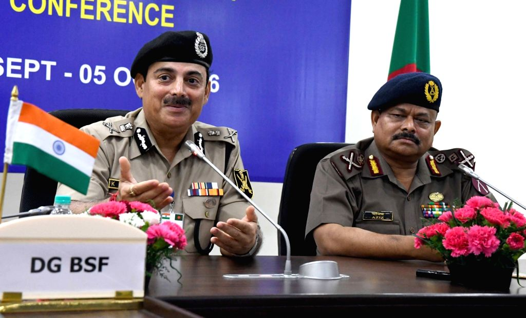 Director General, Border Security Force KK Sharma with Director General Border Guards of Bangladesh Maj Gen Aziz Ahmed during a joint press conference of the 43rd BSF-BGB Director General ...