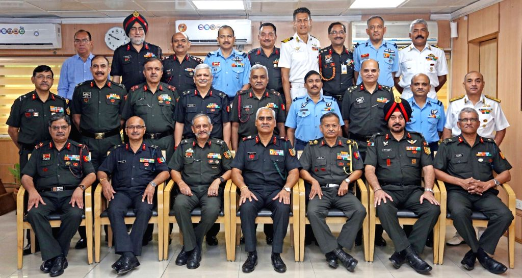 Director General, National Cadet Corps (NCC), Lt. Gen. Rajeev Chopra in a group photograph at the beginning of three-day bi-annual conference of National Cadet Corps (NCC), in New Delhi on ... - Rajeev Chopra