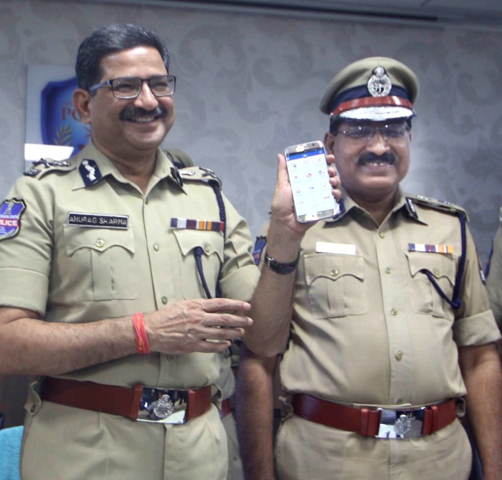 "Director General of Police (DGP) Anurag Sharma launches ""HYDCOP"" - a mobile app for policemen in Hyderabad, on April 18, 2016. - Anurag Sharma"