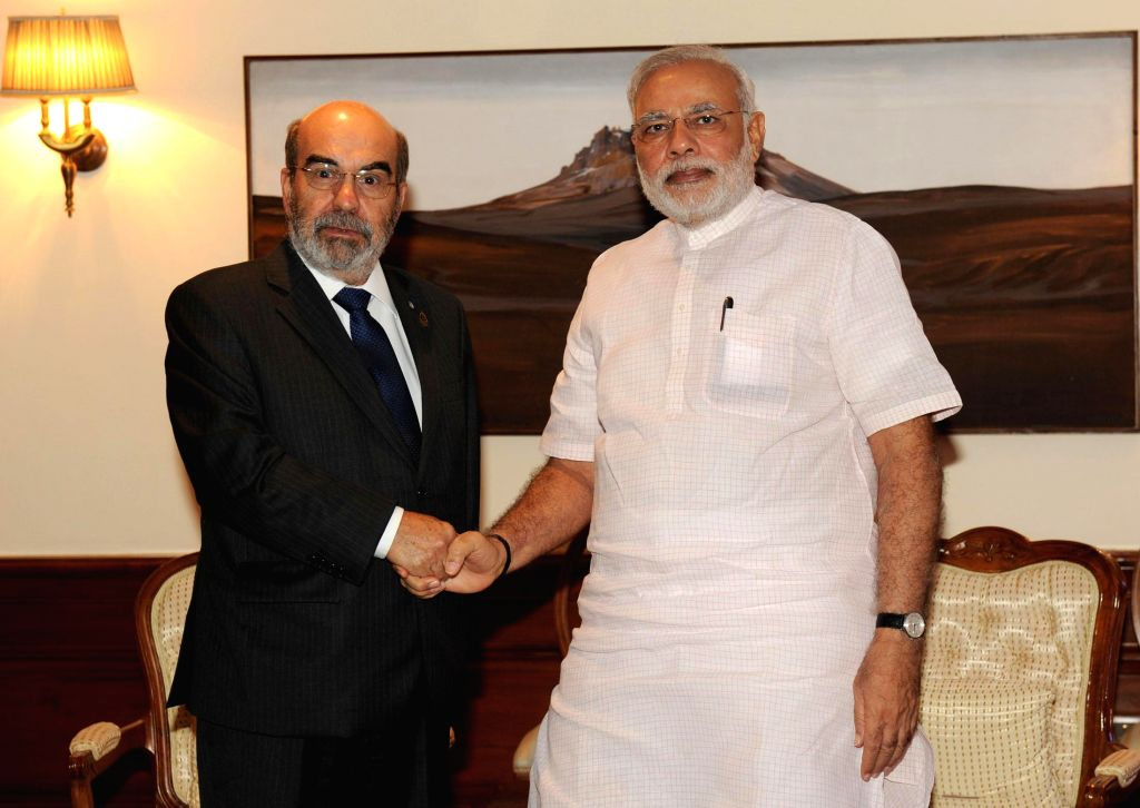 Director General of the Food and Agriculture Organisation (FAO) Dr. Jose Graziano da Silva calls on Prime Minister Narendra Modi, in New Delhi on September 09, 2014. - Narendra Modi