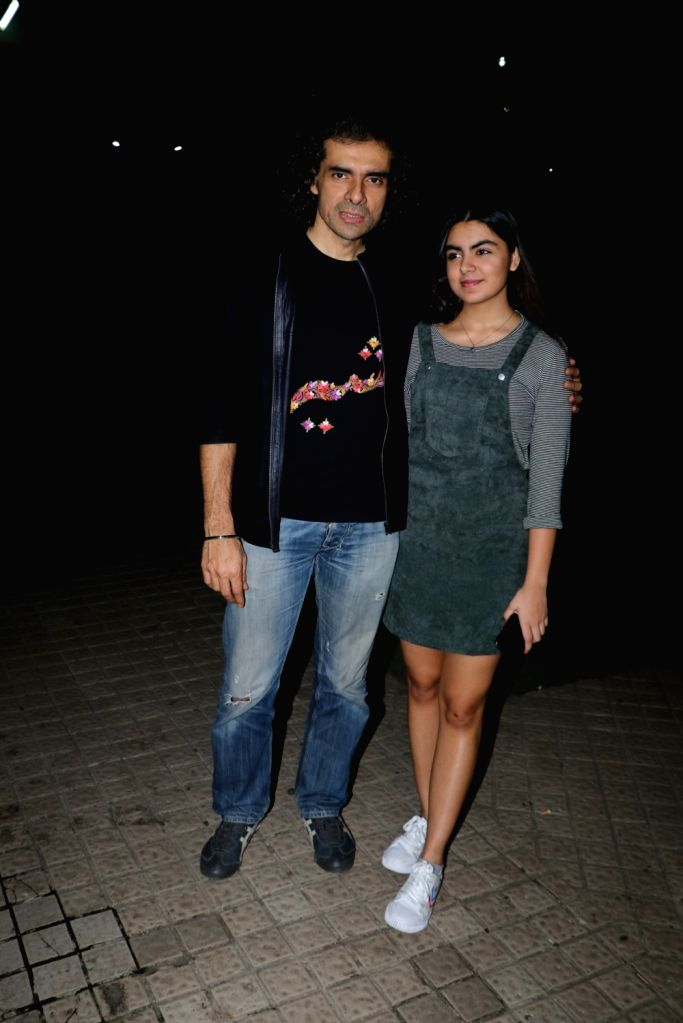 "Director Imtiaz Ali along with his daughter Ida Ali at the screening of upcoming film ""Manto"" in Mumbai on Sept 17, 2018."