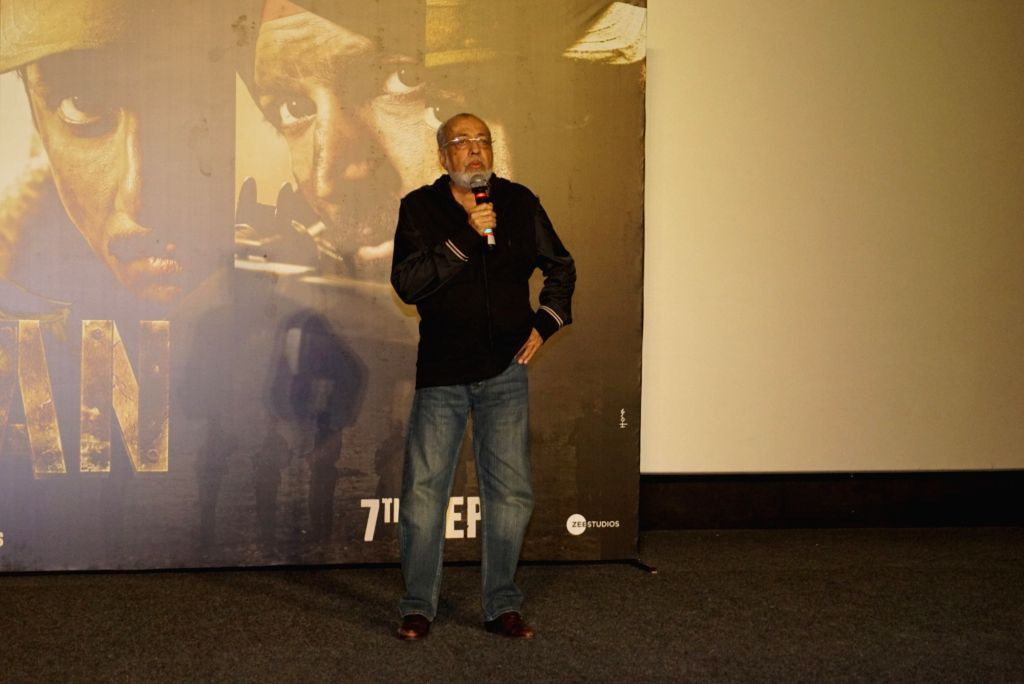 """Director J. P. Dutta addresses at the trailer launch of the upcoming film """"Paltan"""", in Mumbai on Aug 2, 2018."""