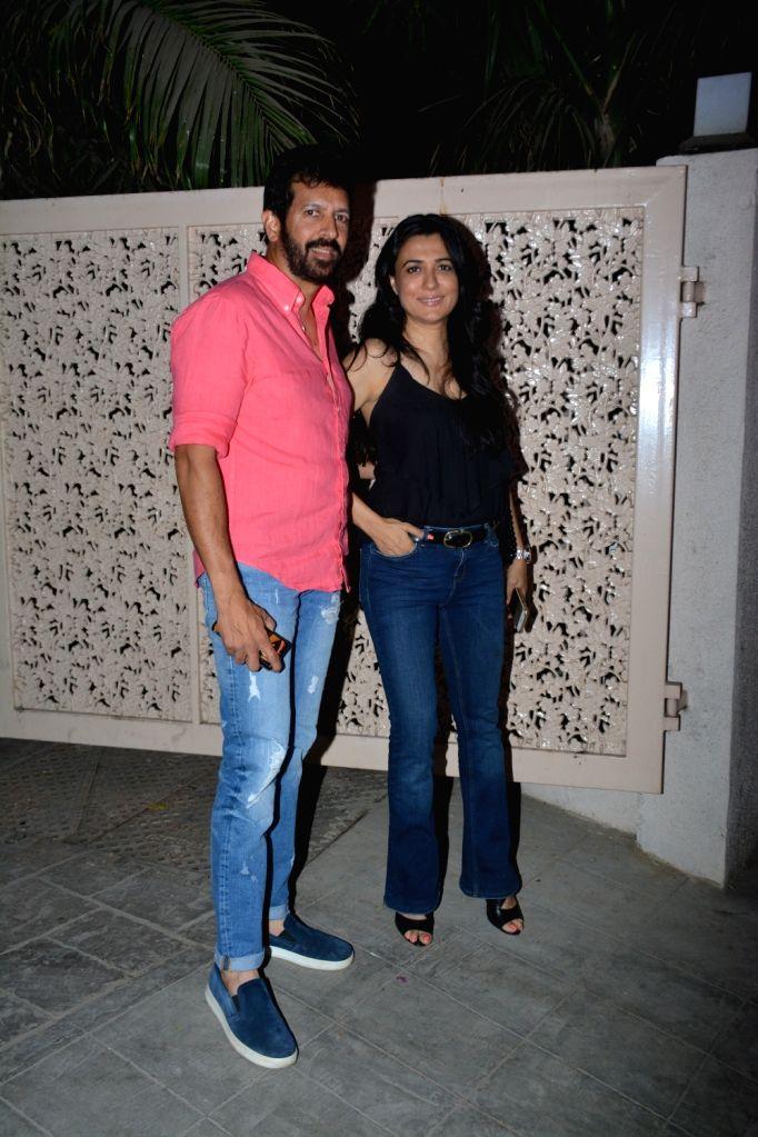Director Kabir Khan with his wife host Mini Mathur seen in Mumbai's Bandra, on April 11, 2019. - Kabir Khan