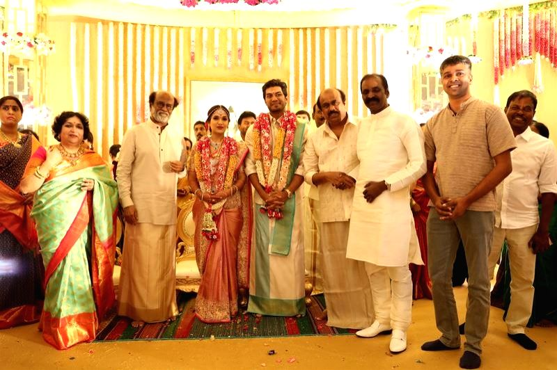 Director KS Ravikumar at the wedding of actor Rajinikanth's daughter Soundarya and Vishagan Vanangamudi in Chennai on Feb 10, 2019. - Rajinikant