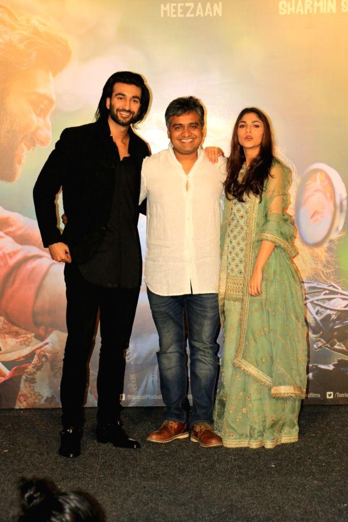 "Director Mangesh Hadawle, filmmaker Sanjay Leela Bhansali's niece Sharmin Segal and Jaaved Jaaferi's son Meezaan at the trailer launch of their upcoming film ""Malaal"" in Mumbai, on ..."