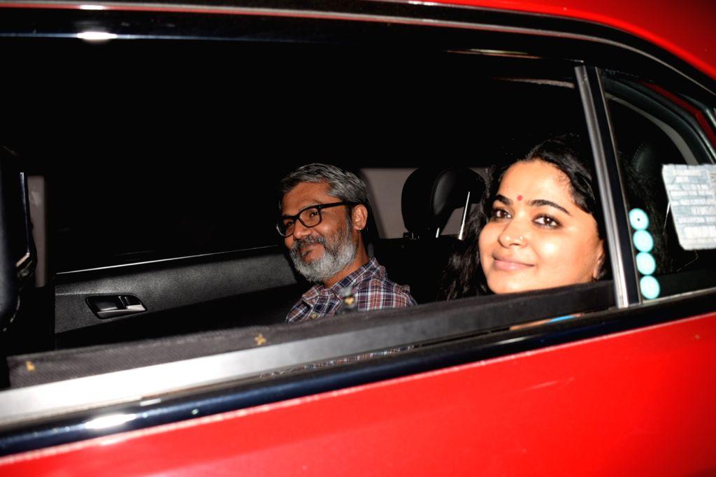 "Director Nitesh Tiwari along with his wife Ashwiny Iyer Tiwari at the special screening of upcoming film ""PadMan"" in Mumbai on Feb 5, 2018."