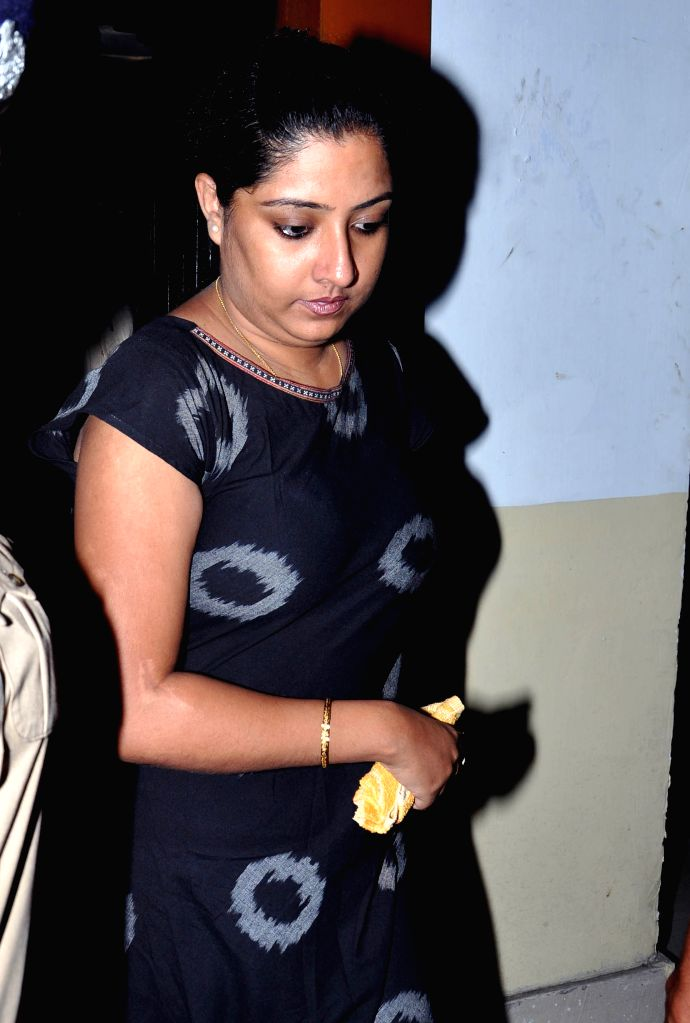 Director of Saradha group Debjani Mukherjee being produced at Bidhannagar Court in connection with the multi-crore-rupee Sardha chit fund scam in Kolkata, on Aug 10, 2015.