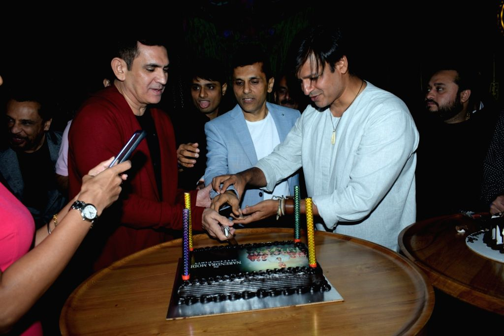 """Director Omung Kumar, producer Anand Pandit and actor Vivek Oberoi at the success party of their recently released film """"PM Narendra Modi"""", in Mumbai, on June 13, 2019. - Vivek Oberoi, Narendra Modi and Omung Kumar"""