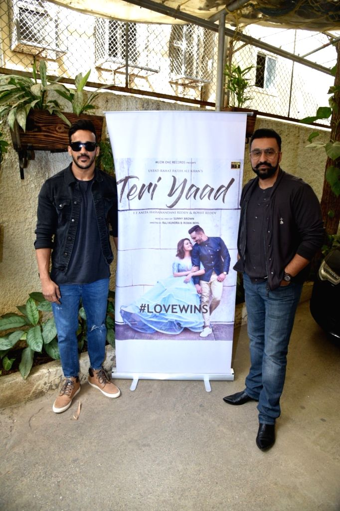 "Director Raj Kundra and actress Anita Hassanandani's husband Rohit Reddy at the launch of their music album ""Teri Yaad"" in Mumbai, on Feb 9, 2019. - Anita Hassanandan, Raj Kundra and Rohit Reddy"