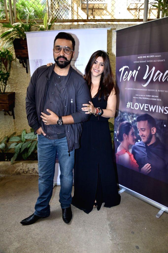 "Director Raj Kundra with television producer Ekta Kapoor at the launch of his music album ""Teri Yaad"" in Mumbai, on Feb 9, 2019. - Raj Kundra and Ekta Kapoor"