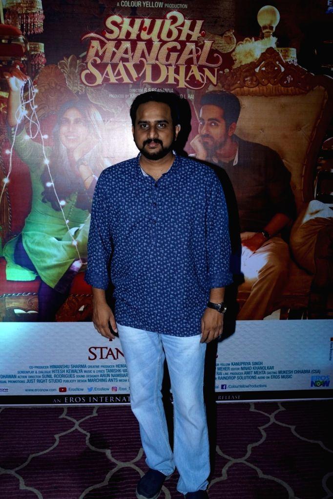 "Director Rs Prasanna during the success party of film ""Shubh Mangal Savdhan"" in Mumbai on Sept 12, 2017."