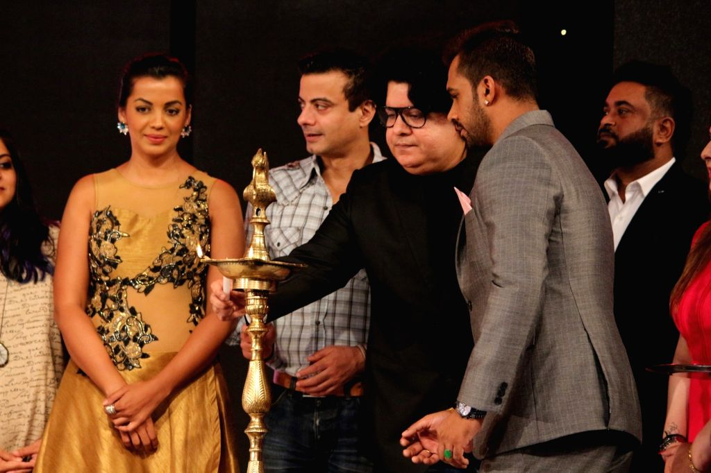"Director Sajid Khann and Actress Mugdha Godse at ""Page3 Fashion & Lifestyle Awards"" in Mumbai on Sept 15, 2017. - Mugdha Godse"