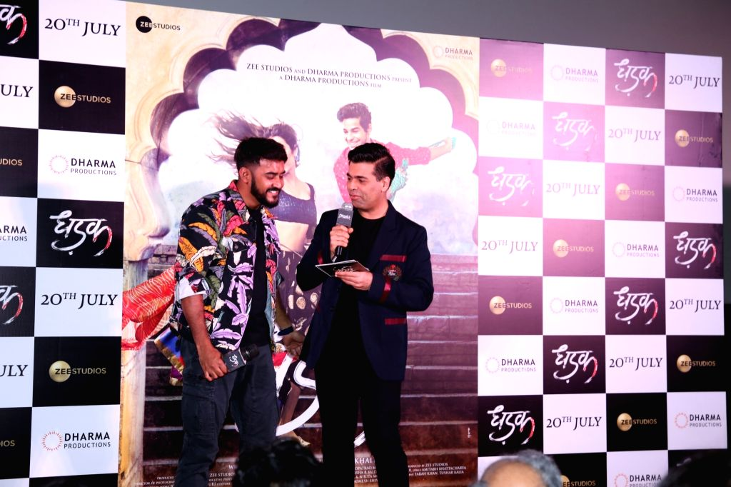 "Director Shashank Khaitan and producer Karan Johar at the trailer launch of their upcoming film ""Dhadak""  in Mumbai on June 11, 2018. - Karan Johar"