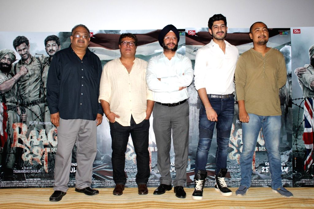 """Director Tigmanshu Dhulia, producer Gurdeep Singh Sappal, actor Mohit Marwah and Kenny Basumatary during a programme organised to launch trailer of forthcoming film """"Raag Desh"""" in ... - Mohit Marwah and Gurdeep Singh Sappal"""