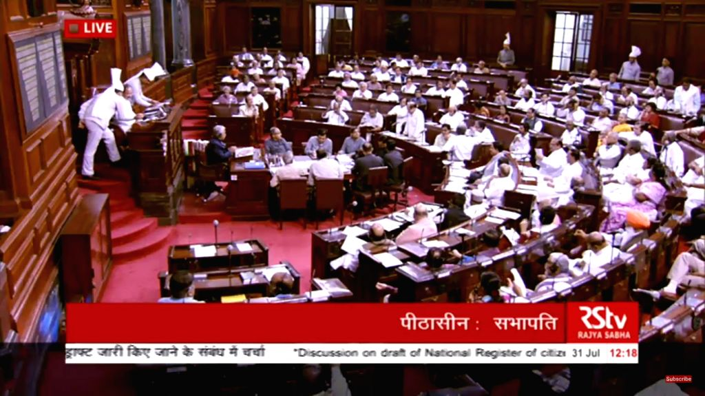 Discussion on National Register of Citizens of India (NRC) of Assam that excludes over 40 lakh names, underway at Rajya Sabha during the Monsoon Session of Parliament, in New Delhi on July ...