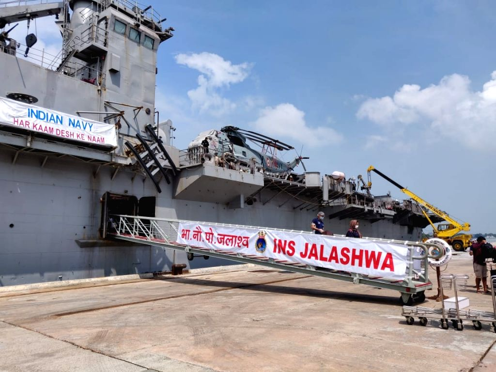 Disembarkation of Indian citizens from INS Jalashwa in Cochin Port Trust terminal.