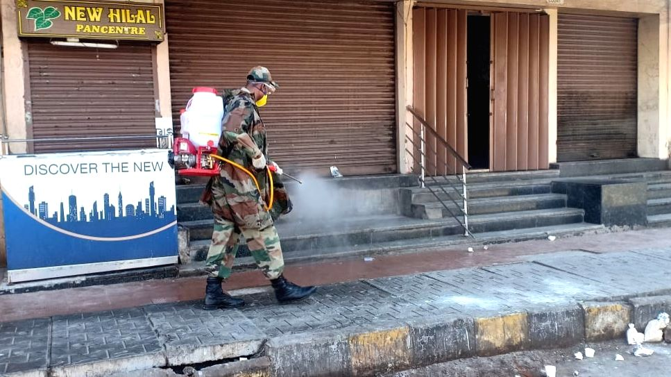 Disinfectant being sprayed on Day 5 of the 21-day countrywide lockdown imposed to contain the spread of novel coronavirus, in Bengaluru on March 29, 2020.
