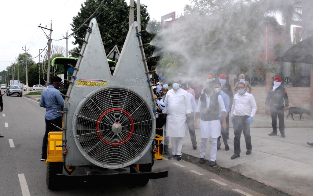 Disinfectants being sprayed across Amritsar on Day 7 of the 21-day nationwide lockdown imposed to contain the coronavirus, in Amritsar on March 31, 2020.