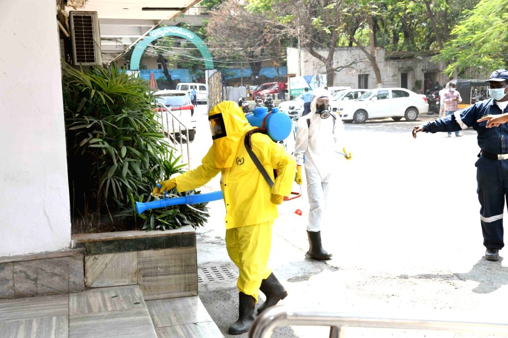 Disinfectants being sprayed across various parts of Hyderabad on the orders of the Telangana Government as a precautionary measure to contain COVID-19 amid coronavirus pandemic, on March ...