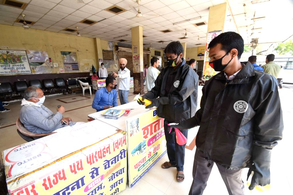 Disinfectants being sprayed as a measure to contain the spread of COVID-19 (coronavirus) in Patna on March 18, 2020.