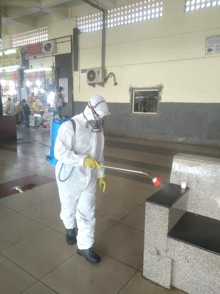Disinfectants being sprayed as a measure to contain the spread of COVID-19 (coronavirus), in Hyderabad on March 21, 2020.