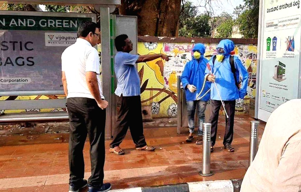 Disinfectants being sprayed as a precautionary measure against COVID-19 (coronavirus) pandemic, in Hyderabad on March 20, 2020.