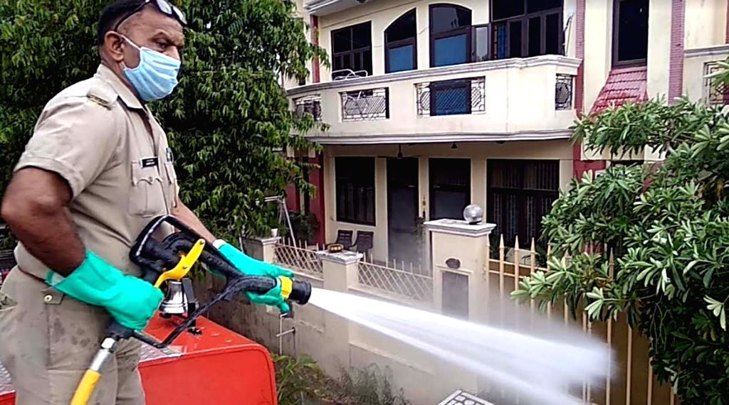 Disinfectants being sprayed during a sanitisation being conducted across Noida during the extended nationwide lockdown imposed to mitigate the spread of coronavirus; on Apr 27, 2020.