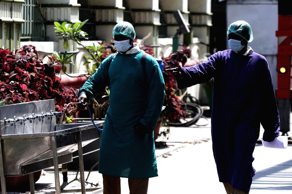 Disinfectants being sprayed in and around the Rajiv Gandhi Hospital amid COVID-19 pandemic during the 21-day nationwide lockdown - that entered its 8th day - imposed as a precautionary ... - Rajiv Gandhi Hospital
