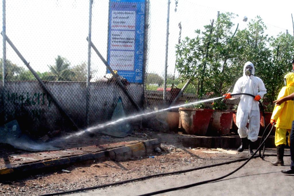 Disinfectants being sprayed on Day 5 of the 21-day countrywide lockdown imposed to contain the spread of novel coronavirus, Hyderabad on March 29, 2020.