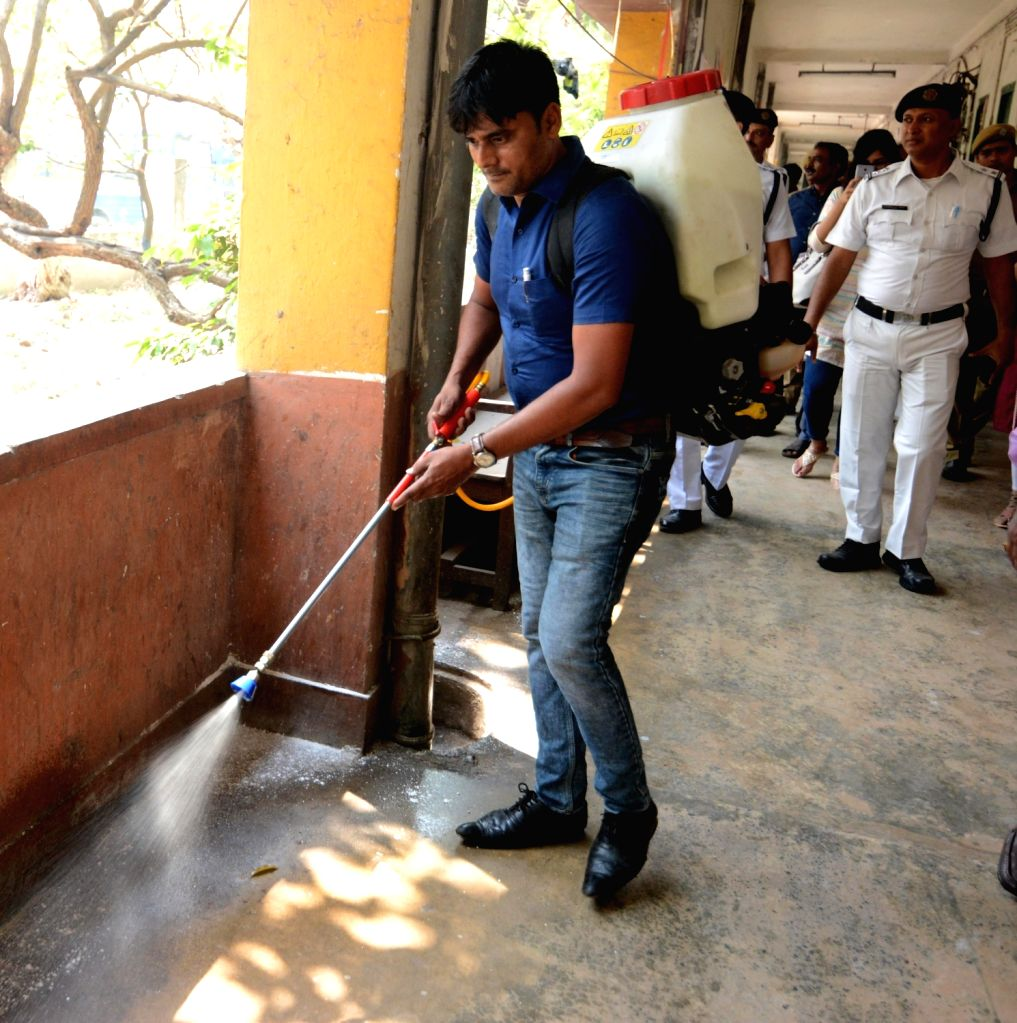 Disinfectants sprayed at the Bodyguard Police Line Ground amid Coronavirus pandemic, in Kolkata on March 18, 2020.