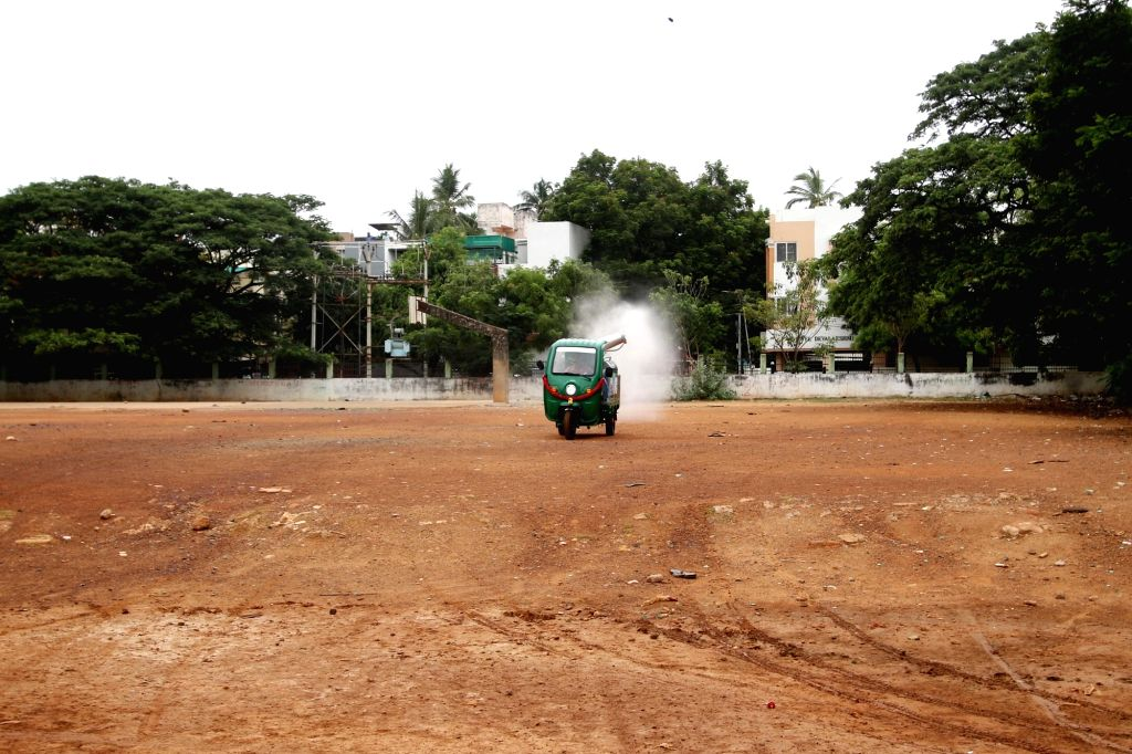 Disinfection vehicles inguarted in chennai on Tuesday, 25 May,2021.