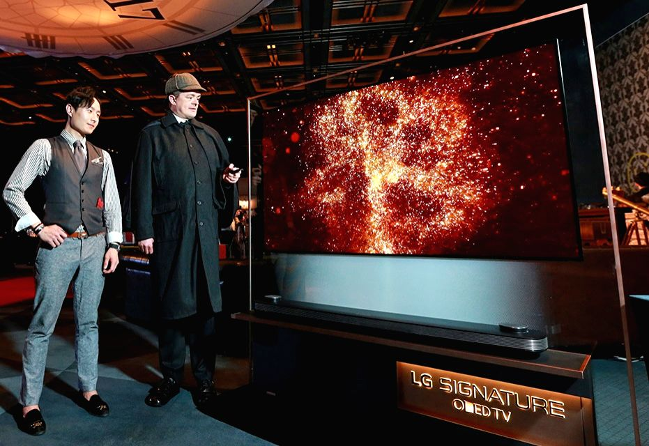 Displayed at the reception at the Grand Hyatt Hotel in Seoul on May 27, 2017, to celebrate the 91st birthday of British Queen Elizabeth II is LG Electronics Inc.'s Signature OLED TV W.