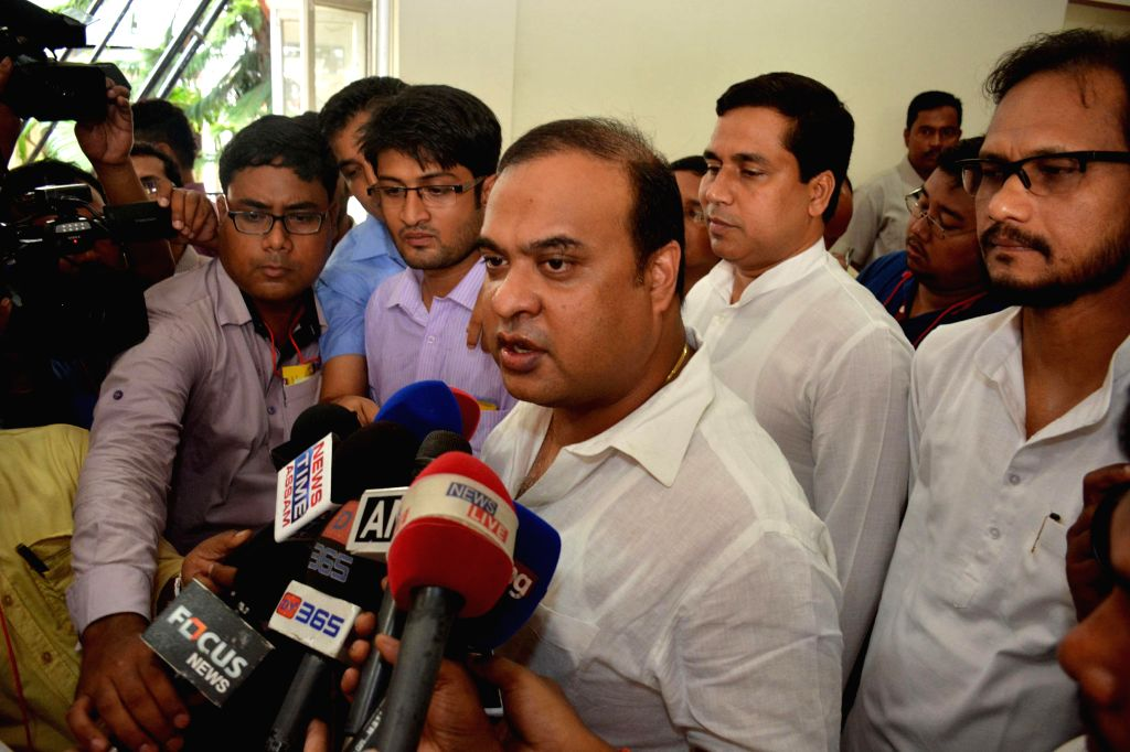 Dissident Congressman Himanta Biswa Sharma talks to media after attending budget session at Assam Legislative Assembly at Dispur in Guwahati on Aug 4, 2014.