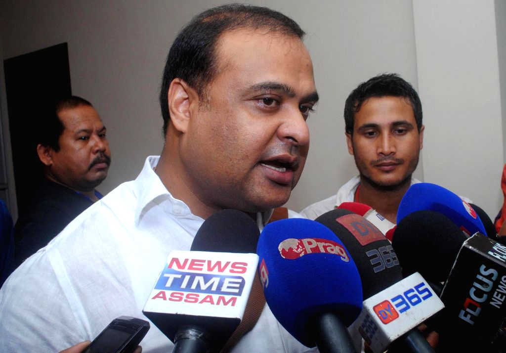 Dissident Congressman Himanta Biswa Sharma talks to media after attending budget session at Assam Legislative Assembly in Guwahati on Aug 5, 2014.