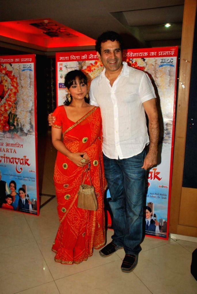 Divya Dutta and Parmmet Sethi Promotes film Vignahara Siddhivinayak in Mumbai.