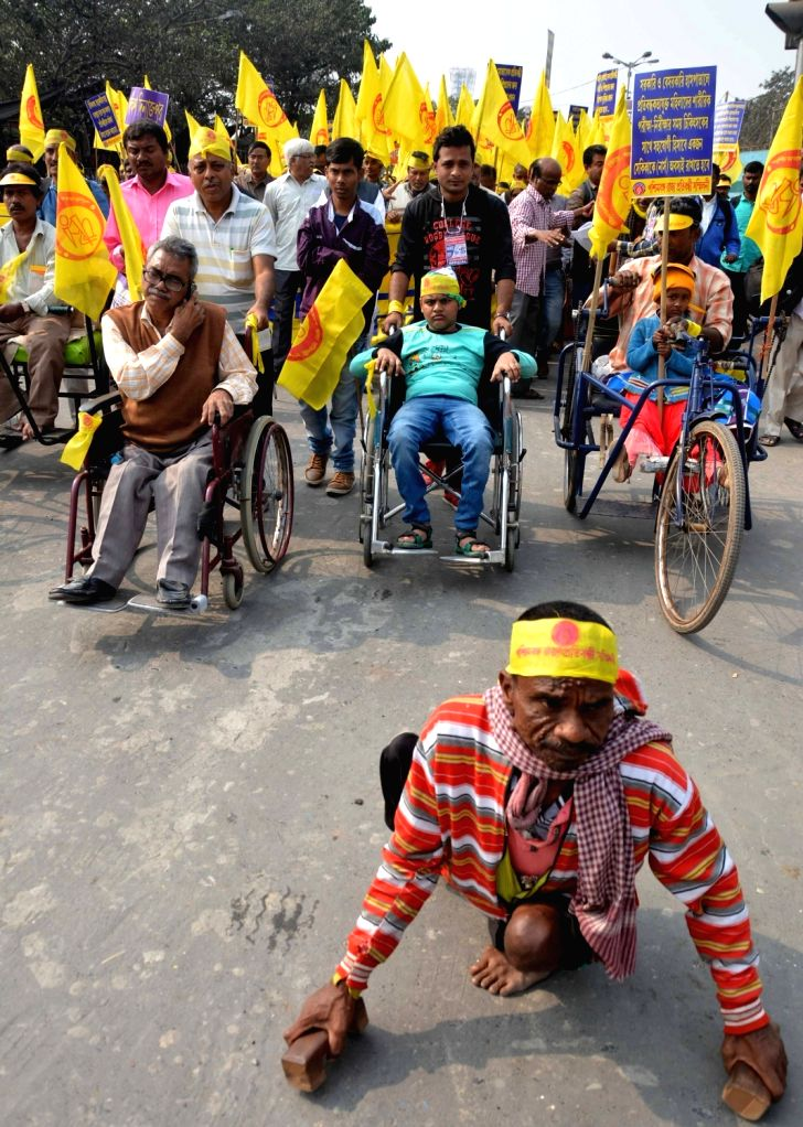 Divyangs -  differently abled people - participate in a programme organised on International Day of Disabled Persons in Kolkata on Dec 3, 2018.