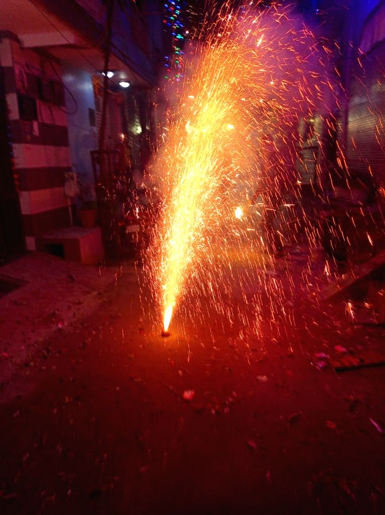 Diwali celebration and fireworks in New Delhi on November 14, 2020.