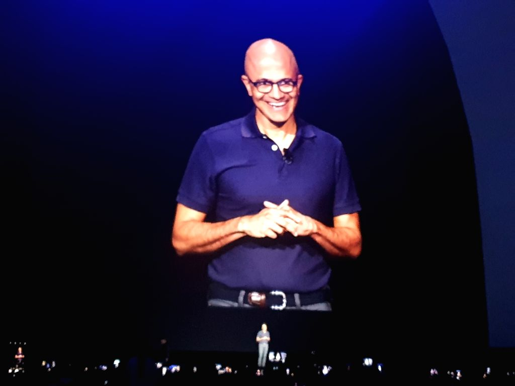 DJ Koh, President, and CEO of IT & Mobile Communications Division, Samsung Electronics with Satya Nadella, Chief Executive Officer of Microsoft while announcing strategic partnership in New York on Aug. 7, 2019. (Photo: IANS)