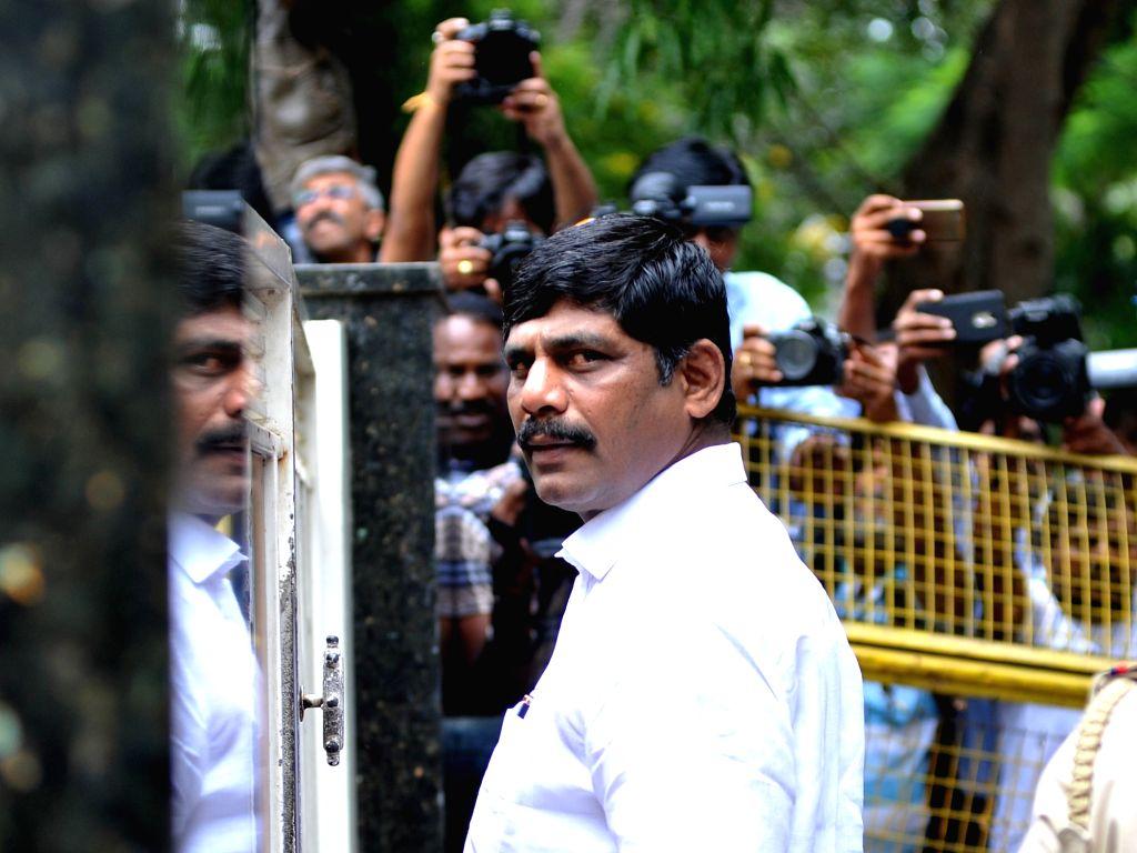 DK Suresh, brother of Karnataka Power Minister D.K. Shivakumar at the residence of D.K. Shivakumar during the Income Tax department raids in Bengaluru on Aug 4, 2017. - D.