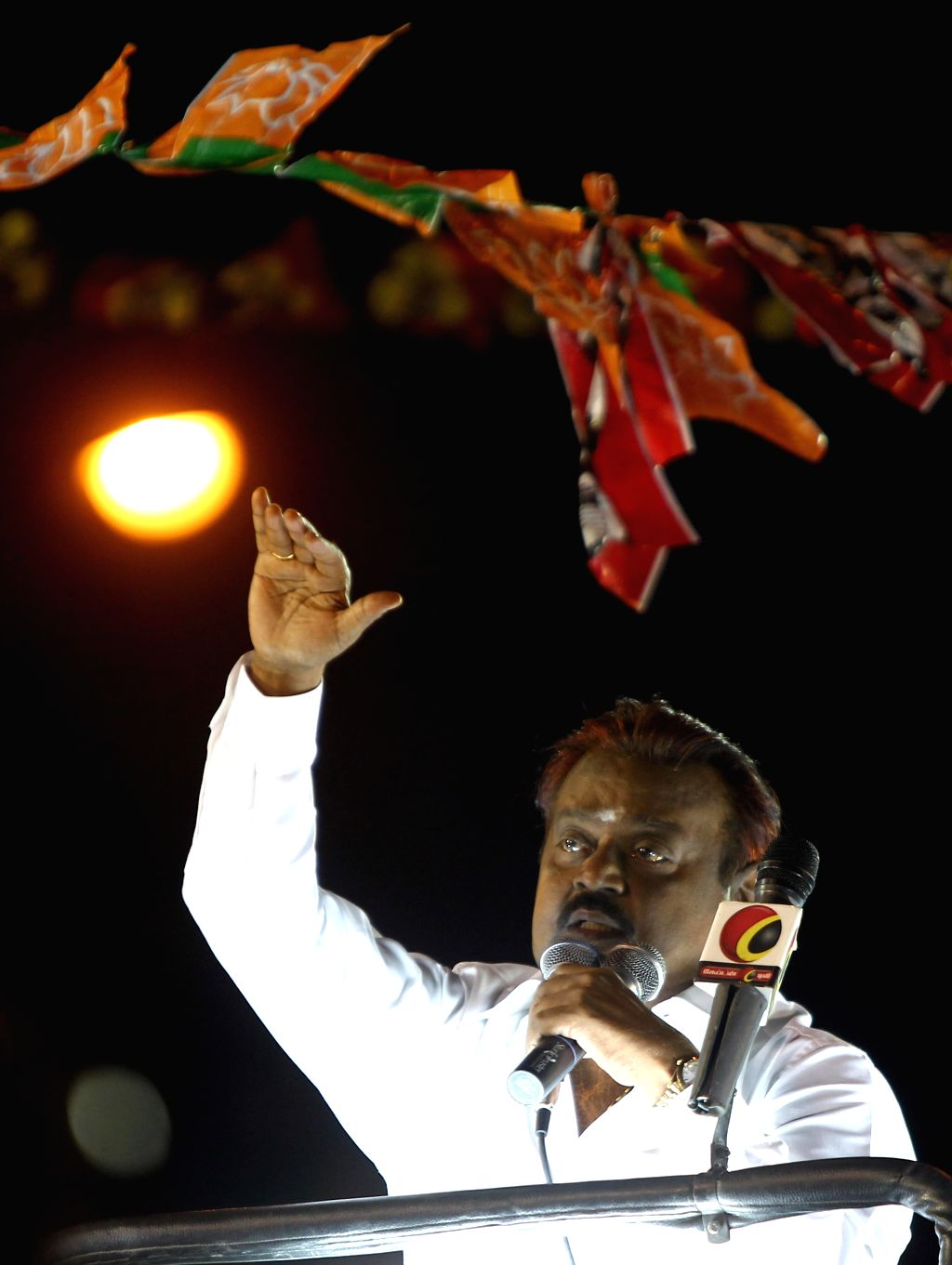 DMDK president Vijayakanth during an election campaign in Chennai on April 20, 2014.