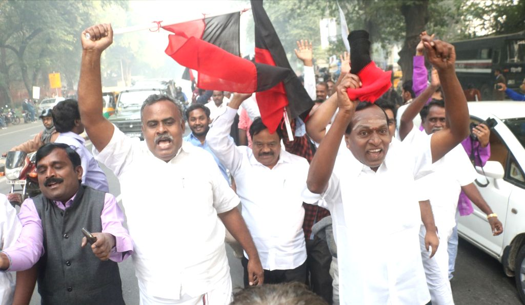 DMK activists on Friday claimed victory in the Tamil Nadu's Vellore Lok Sabha seat and started celebrating even as the Election Commission is yet to declare the final results. (Photo: IANS)