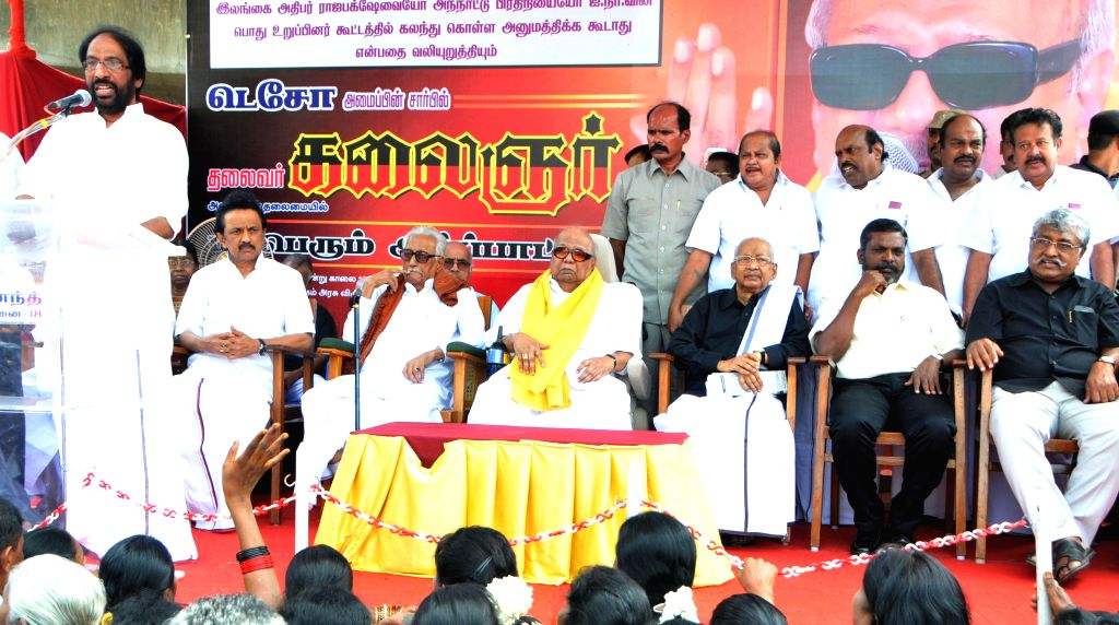 DMK chief DMK Chief Karunanidhi and party's treasurer MK Stalin during a demonstration organised by DMK-backed Tamil Eelam Supporters Organisation (TESO) in Chennai to press for their various demands