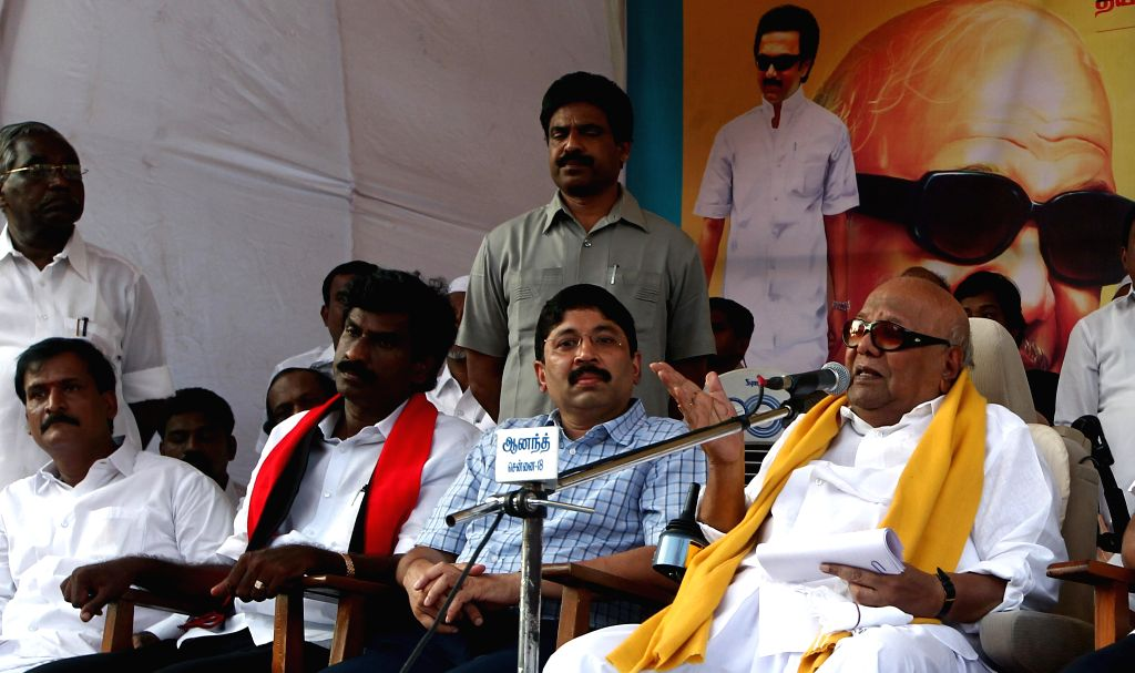 DMK chief M Karunanidhi during an election campaign in Chennai on April 22, 2014.