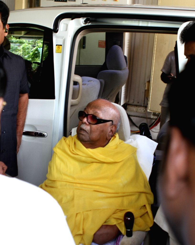 DMK chief M Karunanidhi who has been admitted to Chennai's Kauvery hospital for a minor procedure - change of (Percutaneous endoscopic gastronomy) PEG tube being discharged after minor ...
