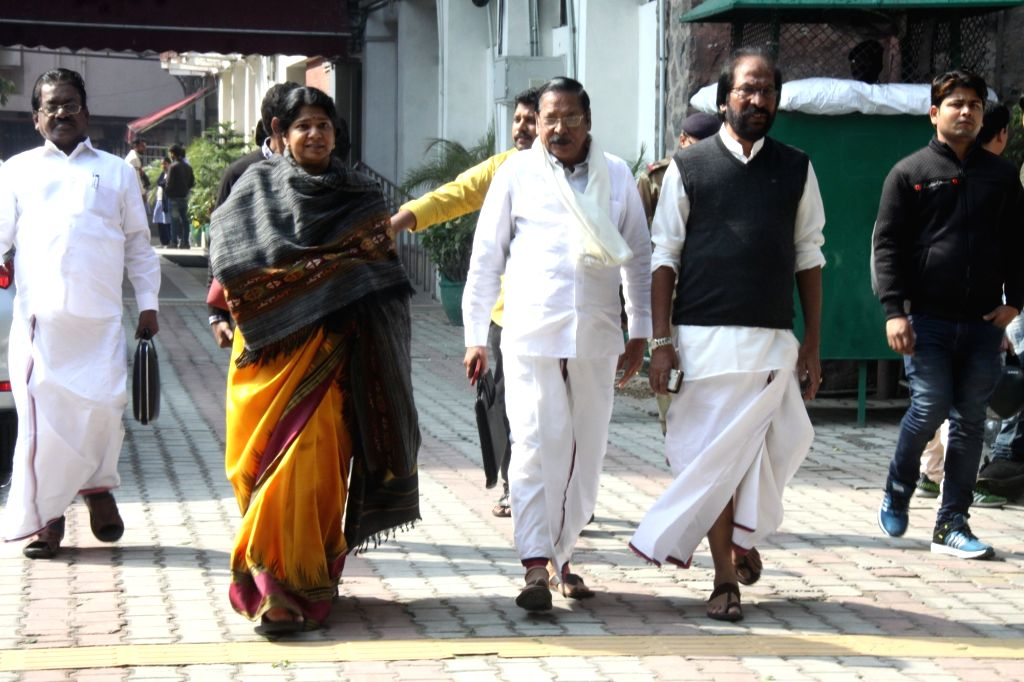 DMK delegation led by party leader Kanimozhi, arrives after meeting the Chief Election Commissioner (CEC), in New Delhi on Feb 8, 2019.