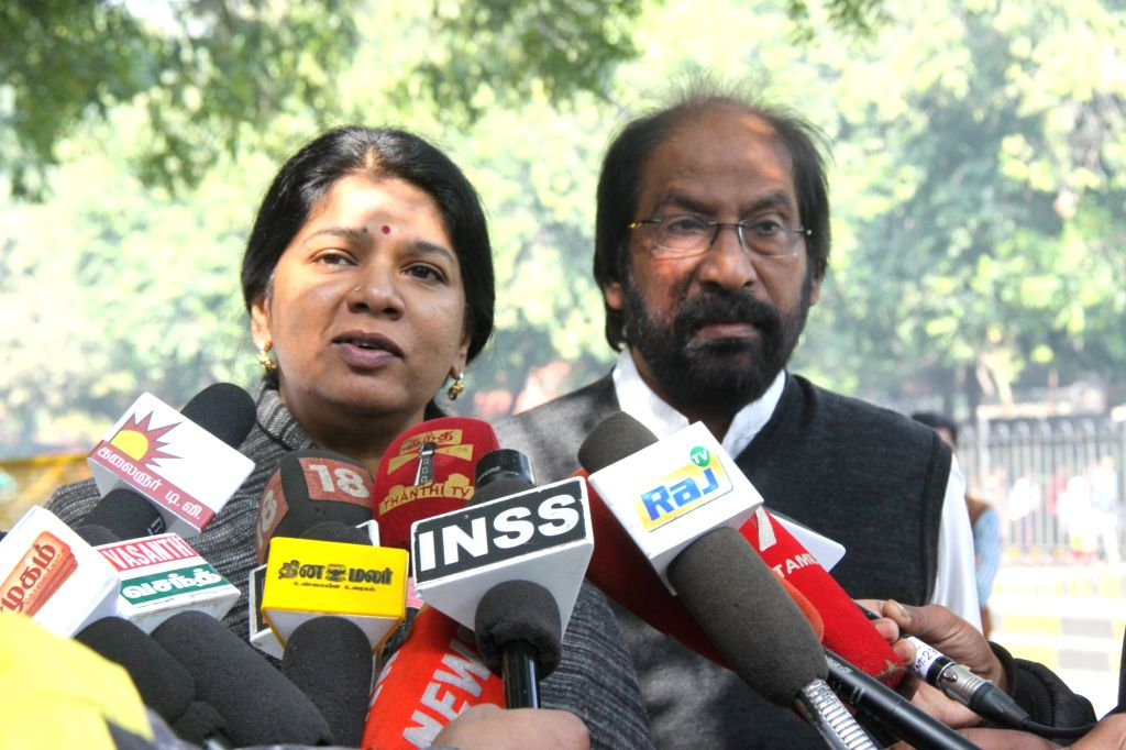 DMK leader Kanimozhi talks to media persons after meeting the Chief Election Commissioner (CEC), in New Delhi on Feb 8, 2019.